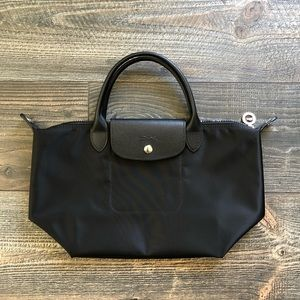 Longchamp 'Small Le Pliage Neo' Nylon Tote (Black)